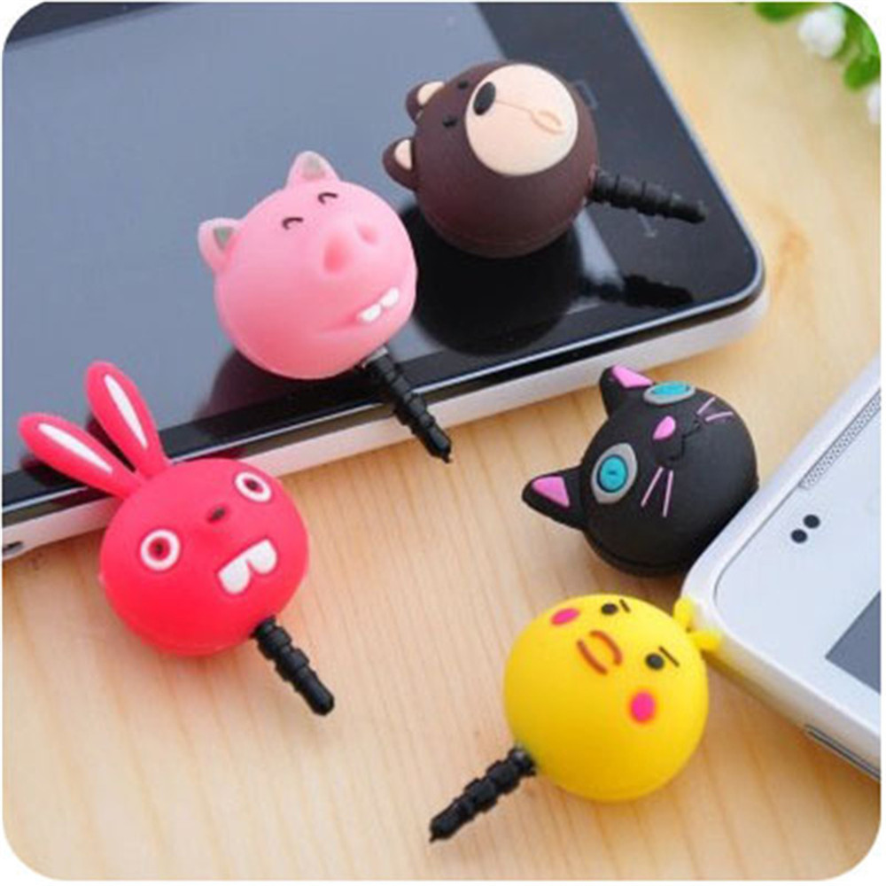 3.5mm Cute Cartoon Bear Design Mobile Phone Ear Cap Dust Plug For Iphone Andriod And All Of 3.5mm Headphone Hole Handsome Appearance Mobile Phone Accessories Dust Plug