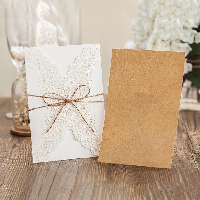 1 Set Design Flower Pattern Laser Cut Lace Wedding Invitations West