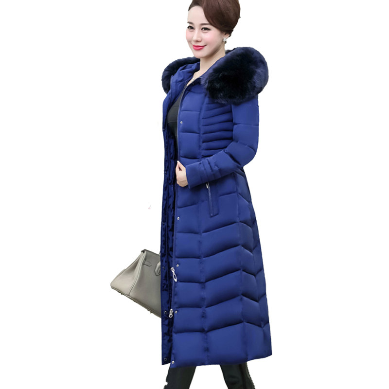 Plus Size 5XL Women's Down Cotton Jacket X-Long Parka Winter Coat Women Fur Collar Thicken Padded Overcoat Chaqueta Mujer C3696 long parka women winter jacket plus size 2017 new down cotton padded coat fur collar hooded solid thicken warm overcoat qw701