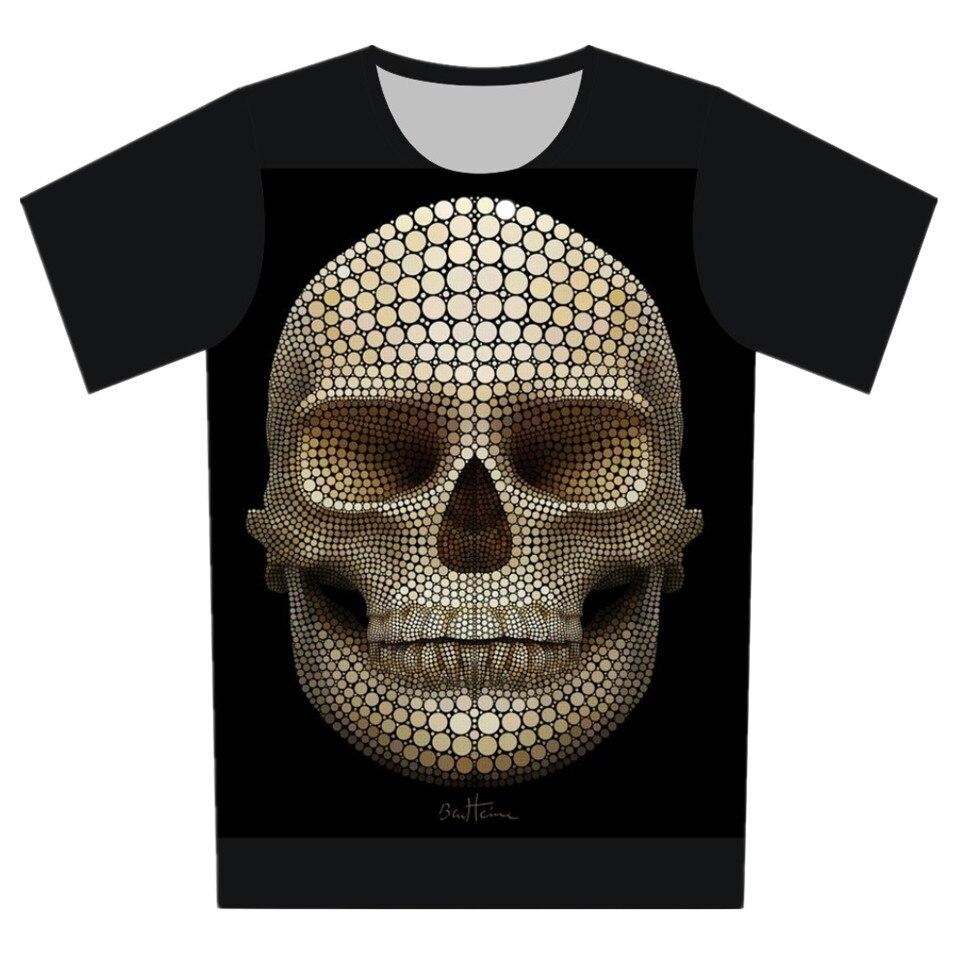Shirt design girl 2016 - 2017 Summer Boy Girl Black Color T Shirt 3d T Shirt Print Skull Head Sea
