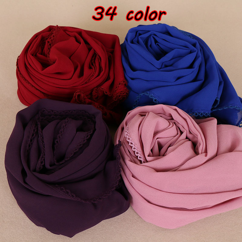 Women Bubble Chiffon Floral Lace Scarves Shawls Hijab Plain Long Headband Fashion Scarf Wraps Muslim Shawls 34 Color 10pcs/lot