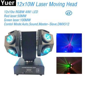 4 stks/partij RGBW 4IN1 12x10W LED Beam Moving Head Licht Laser Disco Ball DJ Disco Apparatuur Party club Bar Bruiloft Verlichting Verlichting