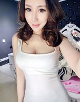 2015 New Sexy Women Shirt Deep U Collar Vest Low Cut White Slim Fit Women T