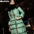 MissFoFo женщин Down Пальто Роялкэт Куртки Процесс Новая Мода Длинные Вниз Парки Женские Зимние Пуховики Черный Меховой Капюшон