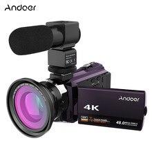 Andoer 4K 1080P 48MP WiFi Digital Video Kamera Camcorder Recorder mit 0,39 X Weitwinkel Makro Objektiv Externe mikrofon kamera