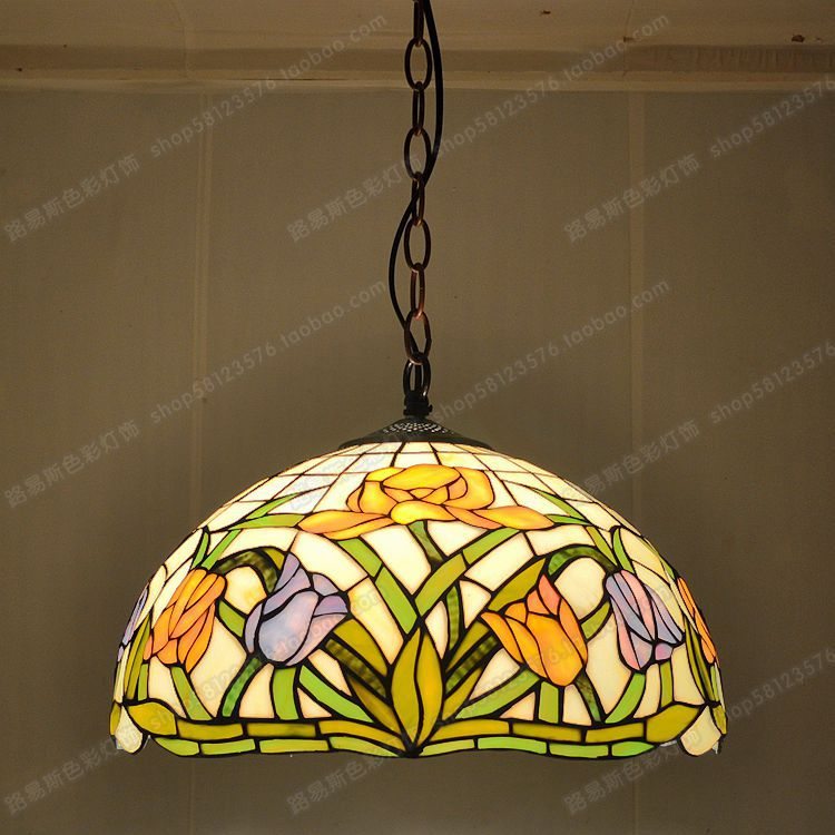 free shipping 40cm american tulip antique cafe color glass chandelier tiffany lighting fixtures kitchen table restaurant - Tiffany Chandelier