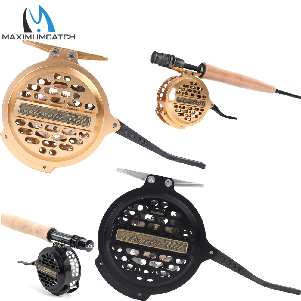 Maximumcatch Automatic Fly Fishing Reel Machined Aluminum Y4 70 Super Light Silver/Black Fly Reel yinglaite 10 1 axles magnetic brake professional aluminum alloy fishing reel black silver blue