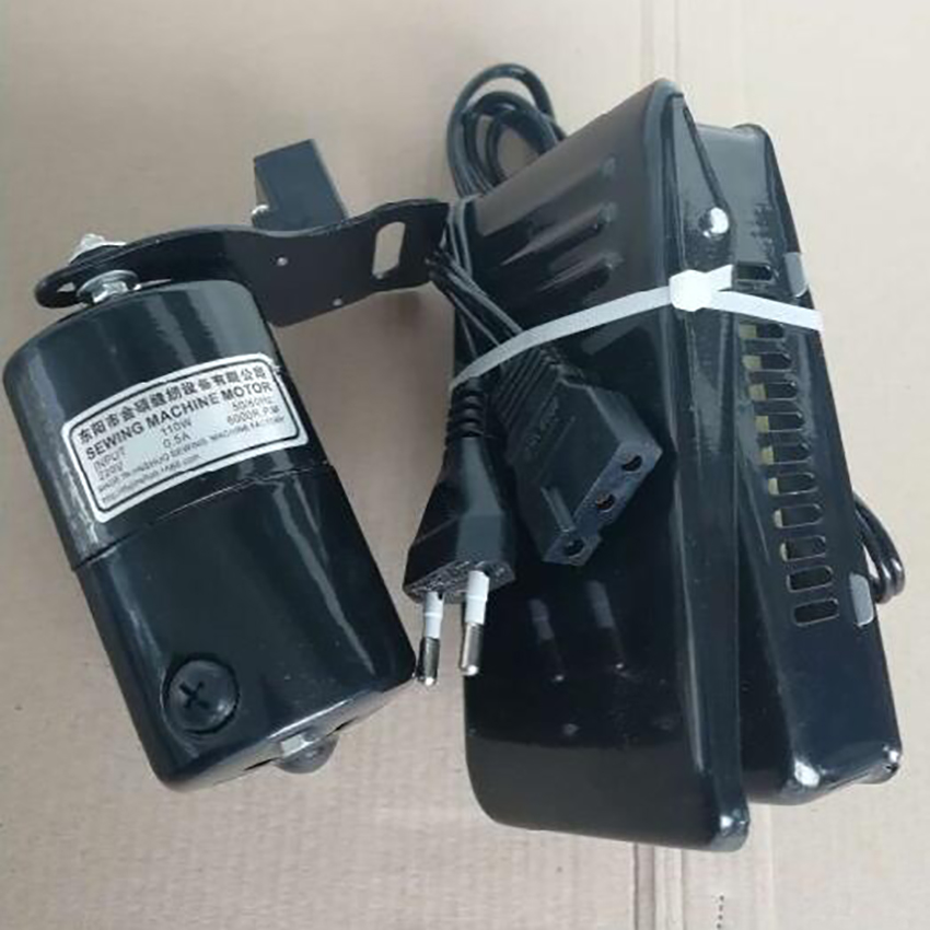 220v 110w Sewing Machine Motor With Pedal Controller, Belt, Carbon Brush, Mounting Screw Old Type Home Sewing Machine Motor