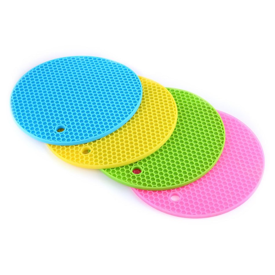 Multipurpose Nonslip Flexible Heat Resistant Table Mats Round Honeycomb  Silicone Pot Holders New Casual