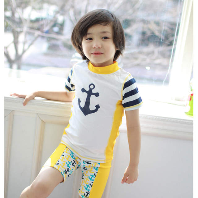 placeholder South Korean 2017 yellow anchor Baby boy swimsuit toddler two  piece suit short sleeves swim suit 50f6c351712f
