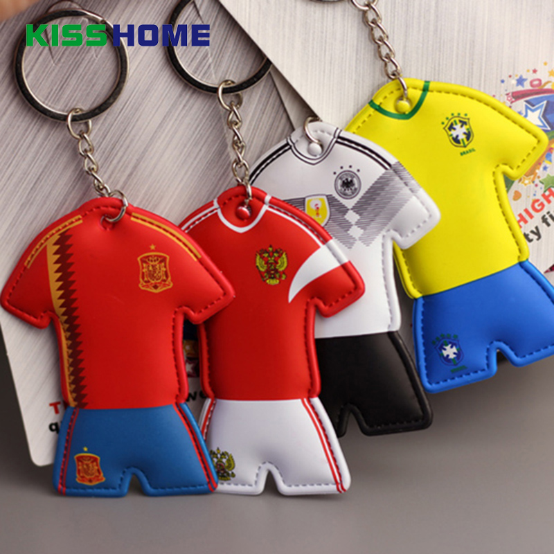 2018 Soccer World Cup National Team Jersey Keychains Creative Car Key Rings Silicone Pendant Keyring Fans Gifts For Couple