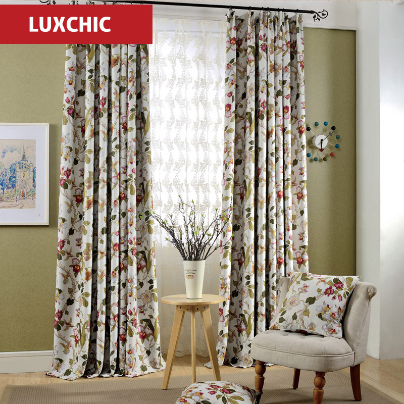1PC Grommet Top High Quality Printed Linen Curtains For Living Room Elegant  Bedroom Curtains Window Curtains