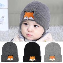 b4b64f8375e New Hot Fashion Baby Children Cap Fox Warm Winter Hats Knitted Wool Hemming  Winter Autumn Spring