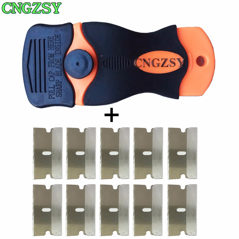 1pc Razor Scraper 10pcs Replacement Metal Blades For Glue Sticker Film Paint Ceramic Oven Stove Car House Floor Cleaning K05