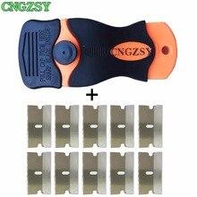1pc Razor Scraper 10pcs Replacement Metal Blades For Glue Sticker Film Paint Ceramic Oven Stove Car House Floor Cleaning K05