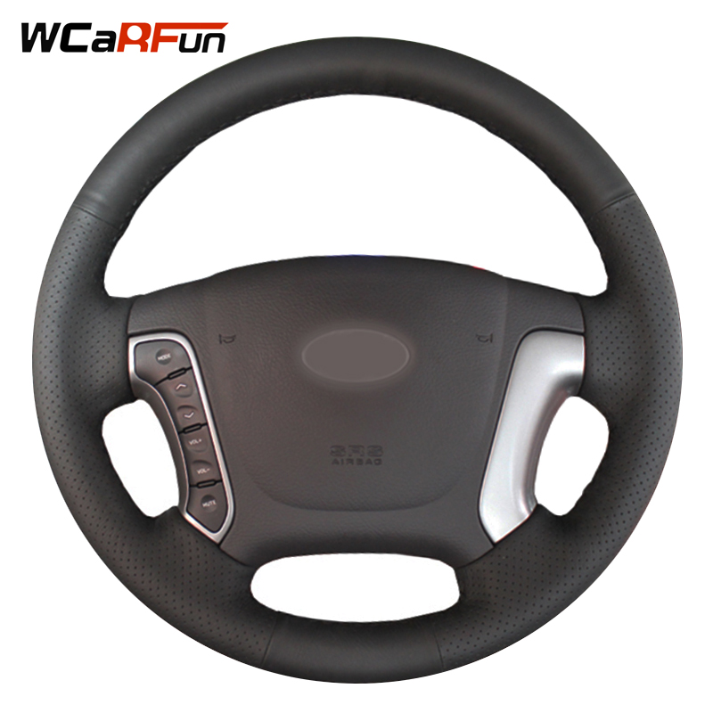 WCaRFun Hand-Stitched Steering Cover Black Artificial Leather Car Steering Wheel Cover for Hyundai Santa Fe 2006-2012
