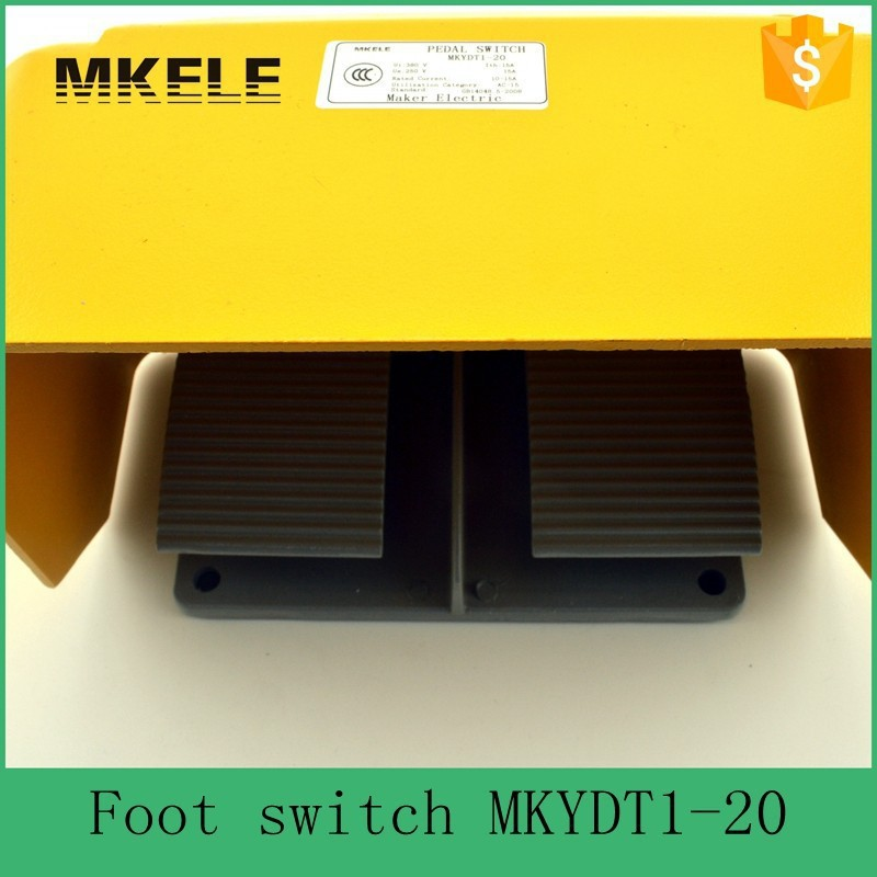 MKYDT1-20 cheap aluminium alloy 15A universal hot sale CE certificate twin double dual foot pedal switch with NO+NC contact hot sale lt4 202h factory price cheap ce newest latest metal double pedal foot switch for bending machine punch