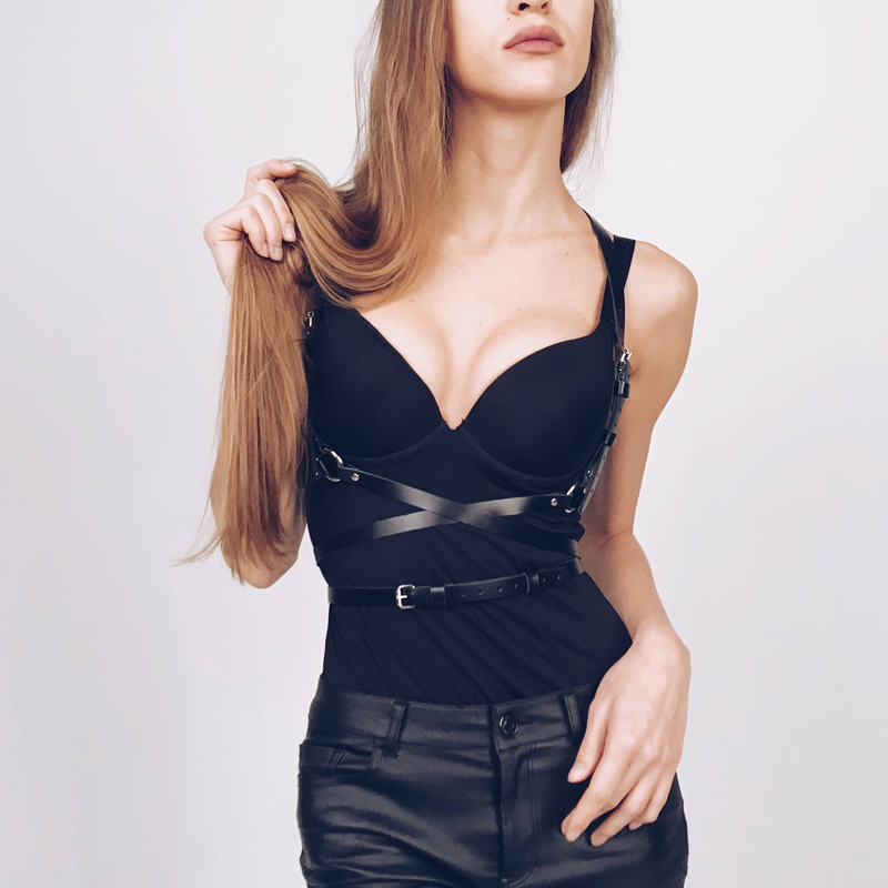 Fashion Punk Harajuku Leather Body Garters Belt Faux Leather Bondage Cage Sculpting Harness Waist Belt Straps Suspenders Belt