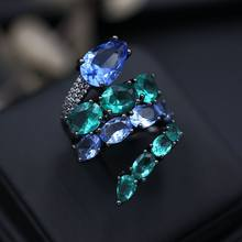Classic Luxury Ring For Women Colorful AAA Cubic Zircon Green Blue Stones Glass Crystal Snake Finger Rings Fashion Party Jewelry(China)