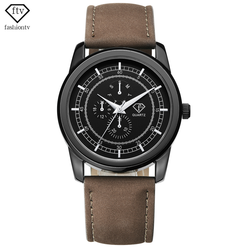 FTV Men Watches Top Brand Luxury Quartz Watches Male Designer Leather Watch Multifunction Relogio Masculino 2018 Clock #RD0006 new listing men watch luxury brand watches quartz clock fashion leather belts watch cheap sports wristwatch relogio male gift