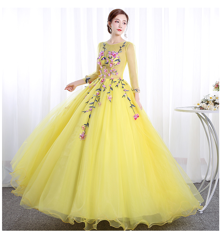 100%real flower veil yellow cosplay ball gown princess medieval dress Renaissance Gown queen Victoria/ball gown/Belle Ball