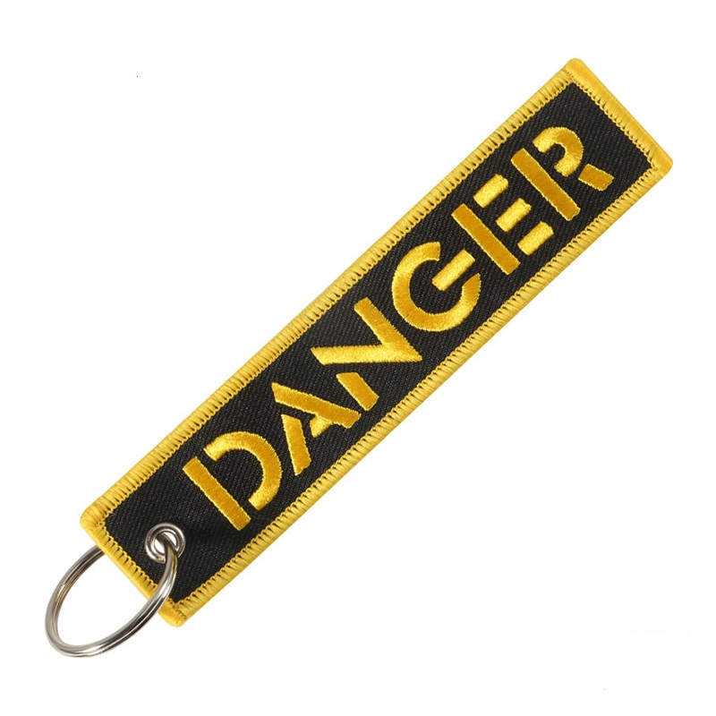 Luggag Tag Embroidery DANGER Key Chain Men Key Holder Travel Accessories Ring Gift Tag With Key Fobs Key Chain