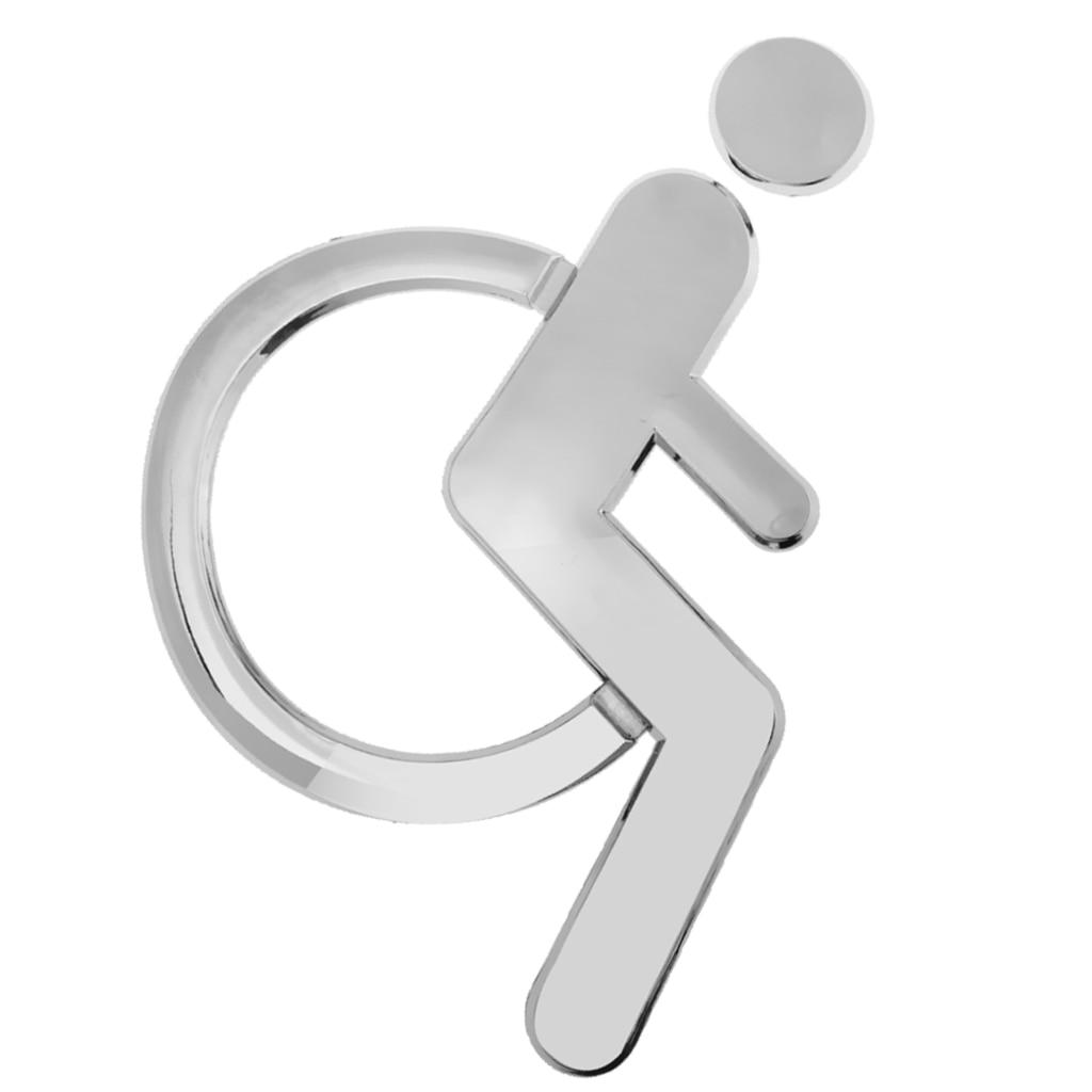 3D Acrilico Sedia A Rotelle Segno Disabili Simbolo Wc A Specchio Superficie Adesivo Porta Segno di Parete Placca