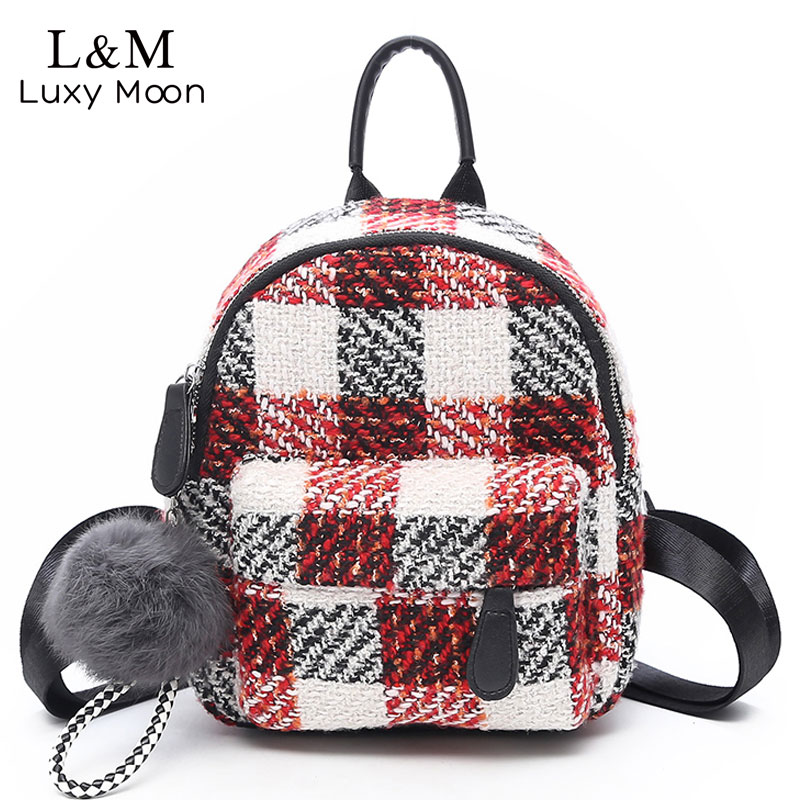 Luxy moon Mini Backpacks Women Wool Black Backpack Cute Pendant Back Pack  For Girls School Bag Female Travel Shoulders XA1079H 623642b59430e