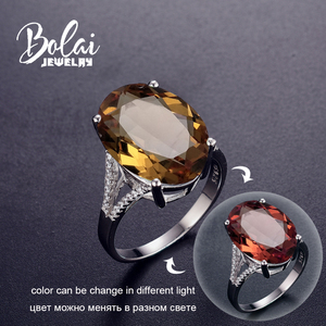 Image 1 - Bolai 18*13mm Big Diaspore Cocktail Ring 925 Sterling Silver Color Changing Zultanite Fine Jewelry For Women Female Christmas