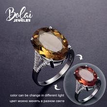 Bolai 18*13mm גדול Diaspore קוקטייל טבעת 925 כסף סטרלינג צבע שינוי Zultanite לנשים נקבה חג המולד