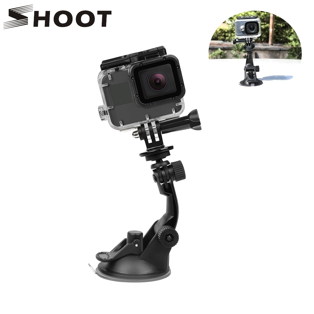 SHOOT 7CM Suction Cup for Gopro Hero 7 6 5 Black SJ4000 Xiaomi Yi 4K Mijia 4 k H9 with Tripod Adapter Go Pro Hero 6 7 Accessory fh100 compatible 7 2v 3300mah battery pack for sony sr300e sr200e sr82e more
