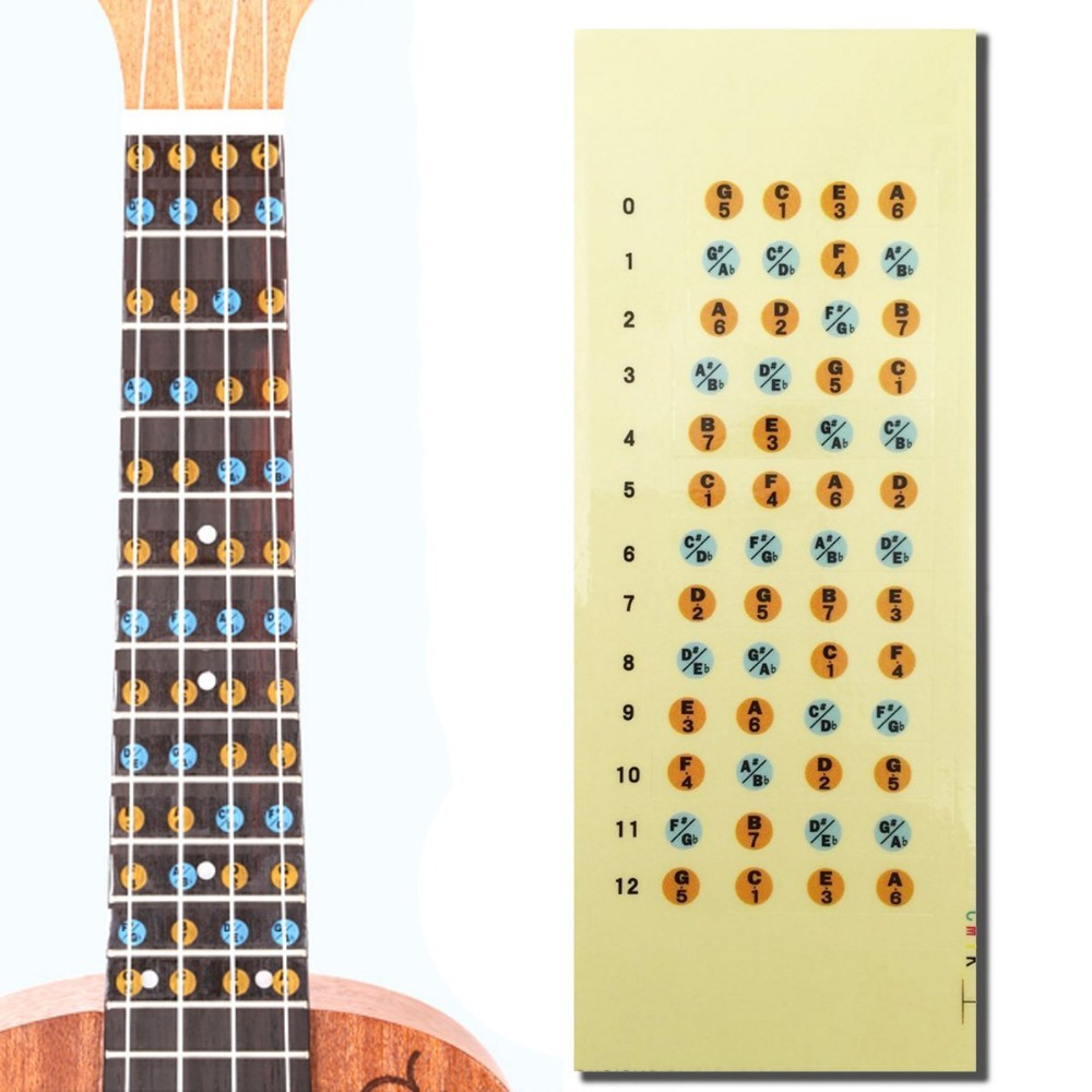 Ukulele Fretboard Note Map Sticker Fingerboard Frets Decals For Beginner Practice