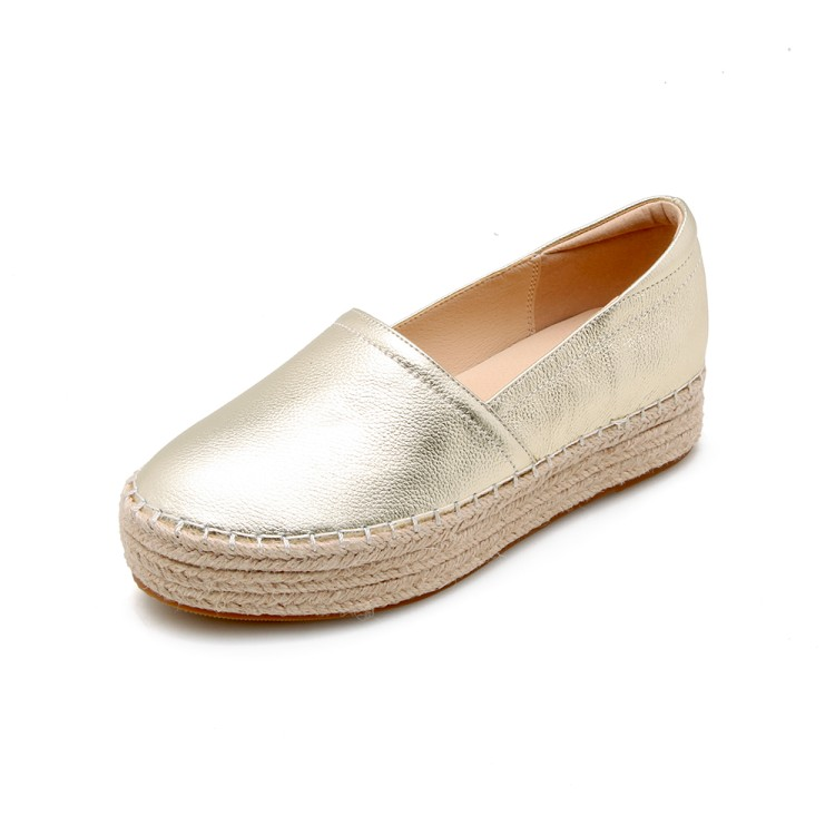 Respirant Rond Confortable En Femmes Nouveau Chaussures Plates Or Bout Cuir Mode Casual argent YaY0zWB
