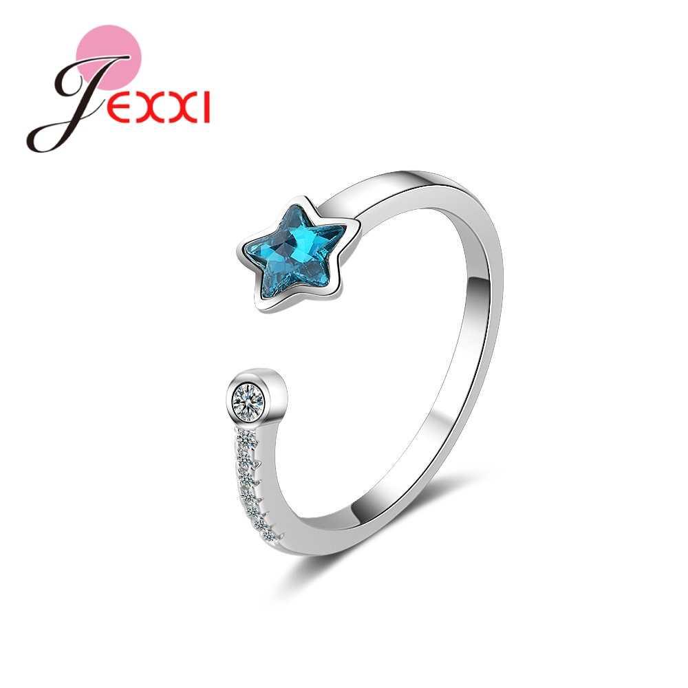 Новая мода 925 стерлингового серебра Ювелирное кольцо для женщин Девушка красиво блестящий синий звезда Anel жена девушка подарок на день рождения