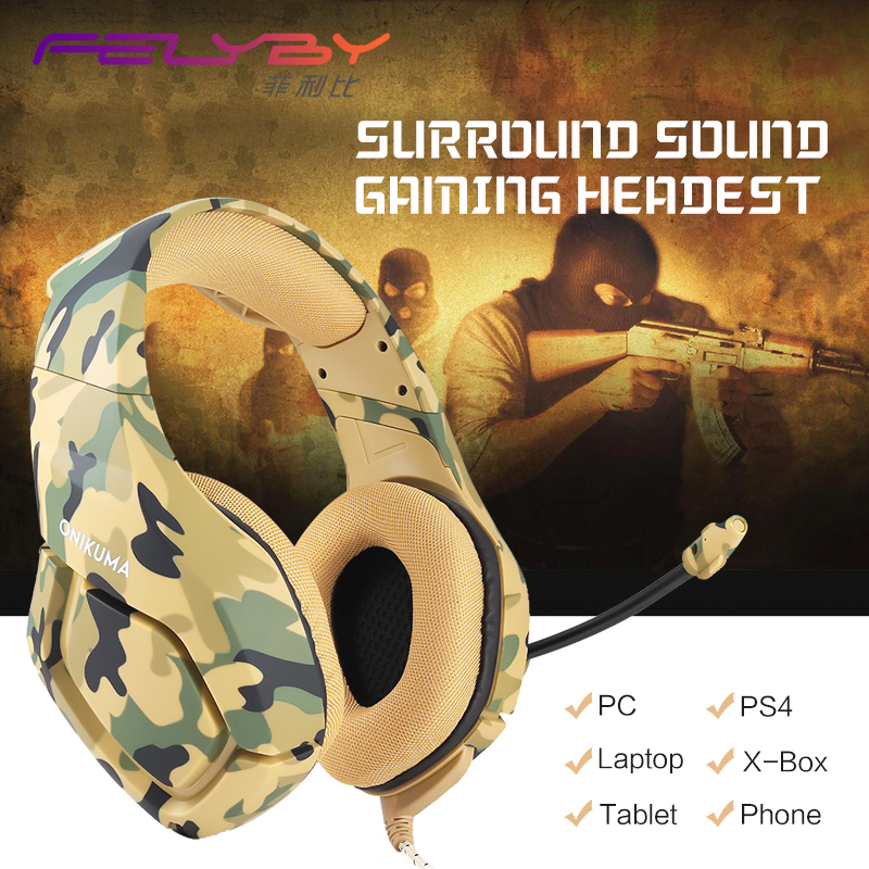 K1B new Gaming headphone stereo earphone 3 5mm Adapter Cable headset Tablet PC Headset music Laptop