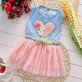 As Meninas da criança vestido de festa Novo 2016 vestido de verão para a menina do bebê vestido tutu menina meninas da criança pano tamanho 2t-5