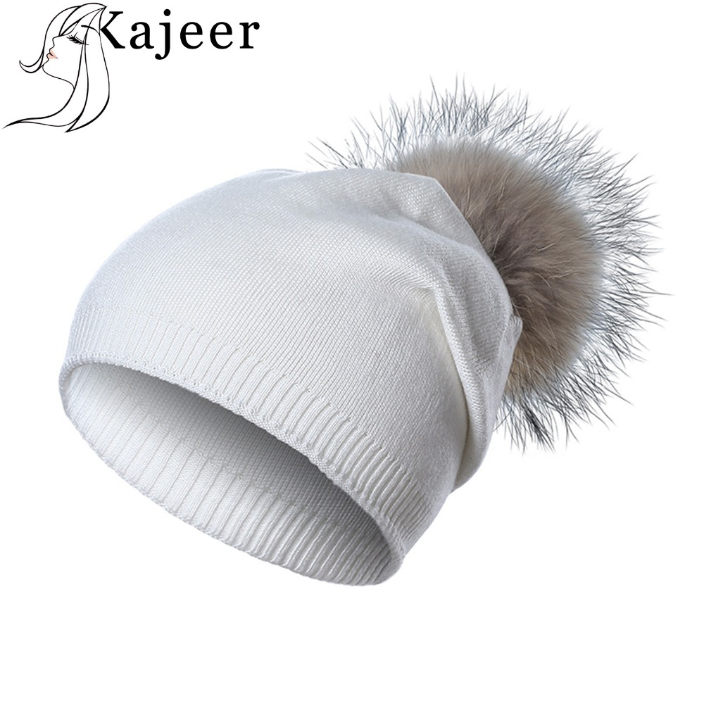 Kajeer Fashion New Hat Female Raccoon Hair Ball   Beanies   Winter Warm Wool Cap Bonnet Pompom Knitted   Skullies     Beanies   For Girls