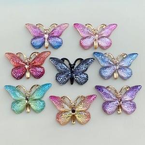 Image 5 - 色の蝶天然石凸シリーズフラットバックレジンカボションジュエリーアクセサリー 10 個 23*38 ミリメートルb27A