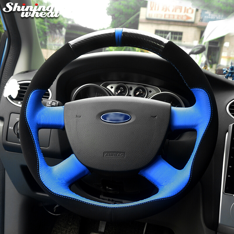 Shining wheat Blue Leather Black Suede Car Steering Wheel Cover for Ford Kuga 2008-2011 Focus 2 2005-2011 C-MAX 2007-2010 shining wheat black genuine leather car steering wheel cover for fiat bravo 2007 2011