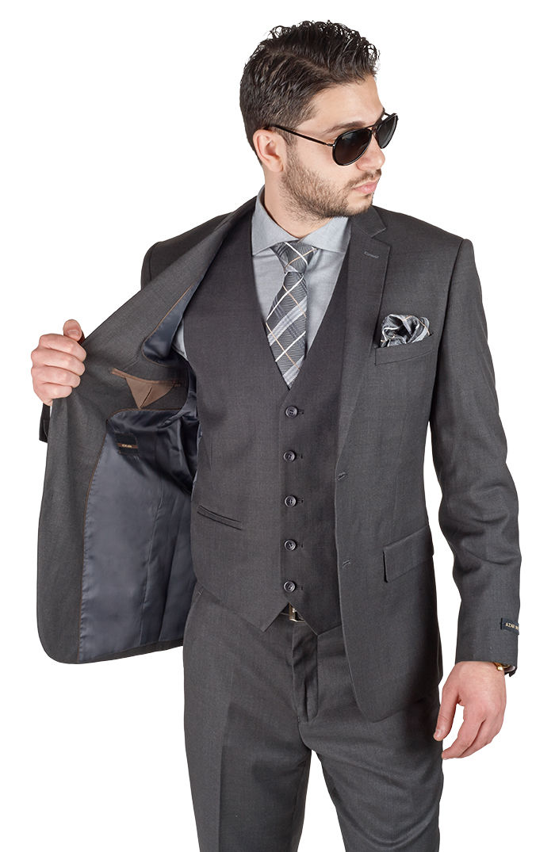 Slim Fit ปุ่มสองปุ่มสีเทาเจ้าบ่าว Tuxedos Notch Lapel ที่ดีที่สุด Man homme เจ้าบ่าวผู้ชายชุด (เสื้อ + กางเกง + เสื้อกั๊ก + tie)-ใน สูท จาก เสื้อผ้าผู้ชาย บน   1