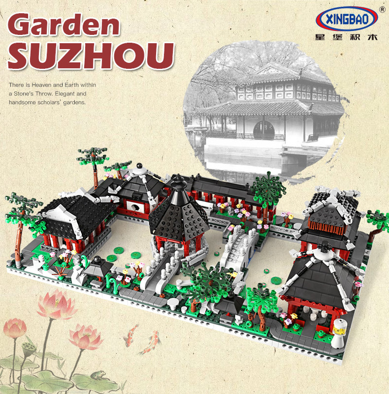 XingBao 01110 Building Series The 6 in 1 Chinese Suzhou Garden Model Set Building Blocks Bricks Model Educational Toys time series model building on climate data in sylhet