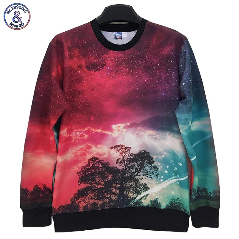 2017 Mr.1991INC Nightfall Tree 3d fashion 2015 Men/women 3d sweatshirts printed red sky casual Space/Galaxy hoodies hoody men W1