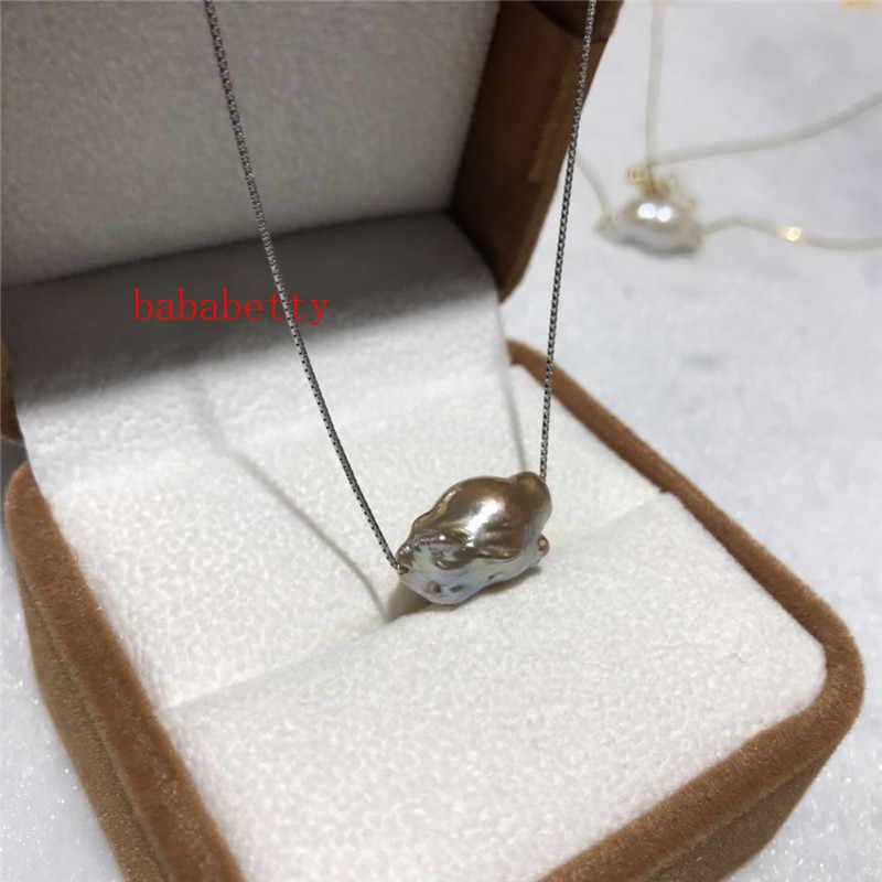 Nueva perla natural AA12-20MM reborn keshi barroco blanco púrpura 925 plata esterlina colgante collar