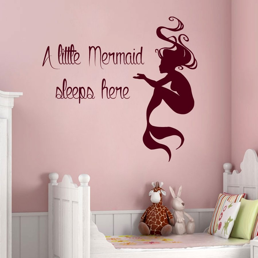 US $6.22 25% OFF|Mermaid Wall Sticker Removable Wall Decals Quotes Kids  Room Children Bedroom Decoration Wallpaper Mural Vinyl Sticker Decor  S728-in ...