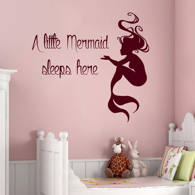 Charming Mermaid Wall Sticker Removable Wall Decals Quotes Kids Room Children  Bedroom Decoration Wallpaper Mural Vinyl Sticker