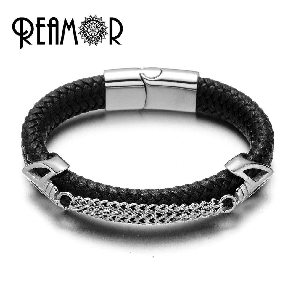 Браслеты REAMOR 316L из нержавеющей стали с двумя звеньями  маски  амулеты  браслеты на запястье  12 мм  плетеные кожаные мужские браслеты  роскошн...