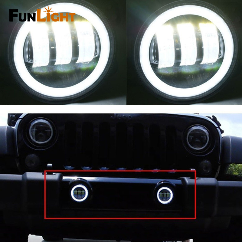 1 Paar 4 Inch 30 W Led Mistlichten Wit Halo Ring Angel Eyes Voor Jeep Wrangler 97-16 Jk Tj Lj Een Plus Een Gratis