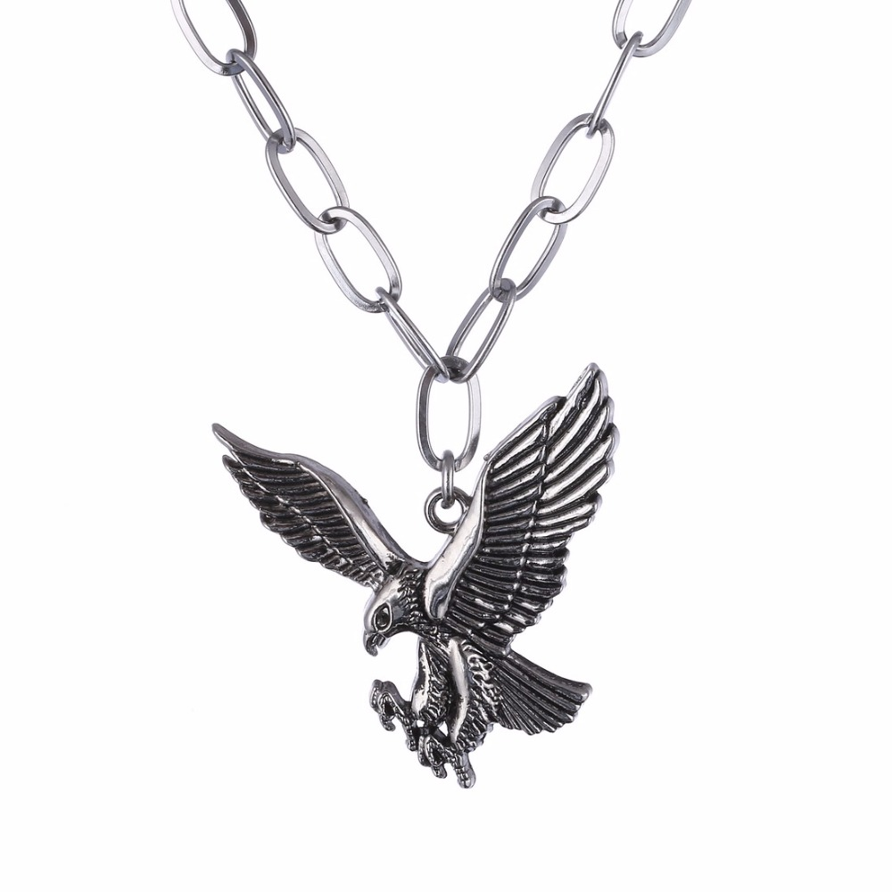Stainless steel eagle necklace pendant necklace bird punk for Stainless steel jewelry necklace