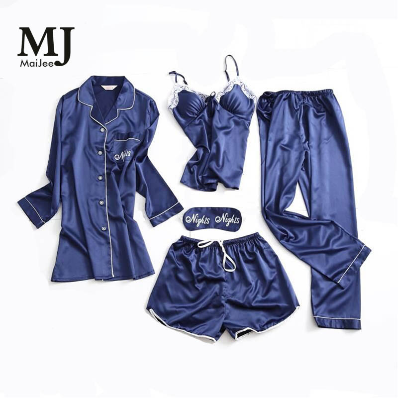 MJ025A Lace 5 Pic Silk Pijamas Mujer Night Suit Satin Pyjamas Women   Pajama     Set   Kigurumi   Pajamas   Pyjama Femme Lingerie Pijama