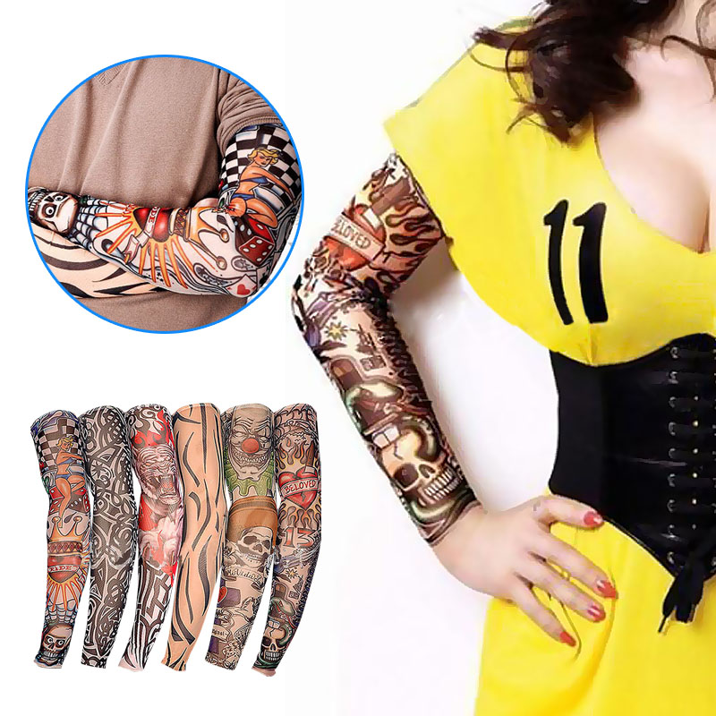 6pcs Fake Temporary Tattoo Sleeve New Nylon Elastic  Designs Body Arm Stockings Tatoo For Cool Men Women  Shop LXX9